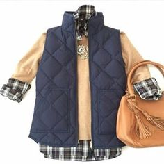 J. Crew Jackets & Blazers - HP j.crew factory | quilted puffer vest, navy.
