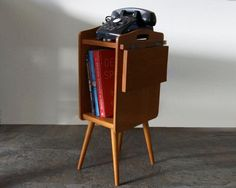 Mid Century End Table Danish Modern Telephone Stand 50s 1950s 50s With Fold Down…