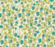 Aqua Daisy fabric by paper_pie on Spoonflower - custom fabric