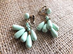 Mint Green Vintage Clip-On Bauble Earrings With Dangling Beads #tropical #boho #bohemian #mermaid #india