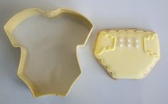 Pale Yellow Diaper Cookies from a Onesie Cookie Cutter | Make Me Cake Me