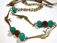 Bird Necklace  Bronze  With Green Dragons by MURPHYSTREASURES2, $21.95