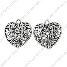 Alloy Pendants, Lead Free and Cadmium Free, Heart, Antique Silver