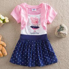 Cheap Venta al por menor ! 2014 Patrón Infantil verano de las muchachas vestidos de Peppa Pig Pink princesa Girl Wear Lunares Vestidos Causal, Compro Calidad Vestidos directamente de los surtidores de China:                  NO: 1               NO: 2          tamaño S M L XL XXL (90 100 110 120 130)