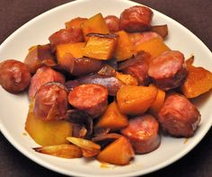Skillet Sausage and Butternut Squash, an easy dinner full of flavors. Serve with easy fried potatoes or pasta with browned butter