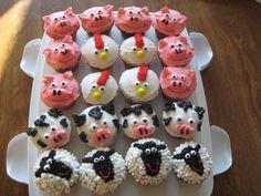 farm animal cupcakes.