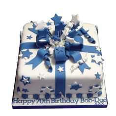 <b>Spectacular Cake</b><br />Decorated in blue & white, this cake is perfect for any occasion. Giving approx 30 portions, from £75 Square Birthday Cake, Birthday Cake Gift, Birthday Cakes For Women, Birthday Cake Decorating, 21st Cake, Diy Cake Topper, Novelty Cakes, Celebration Cakes, Cake Art