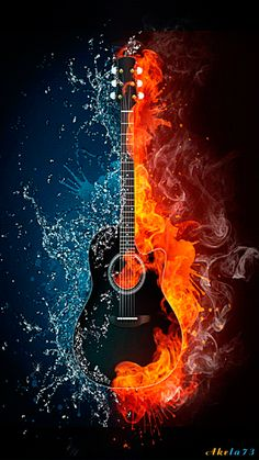 Acoustic guitar in fire and water. Illustration of the acoustic guitar in elements isolated on black background. High resolution acoustic guitar in fire and water image for a guitar concert poster. Guitar Art, Music Guitar, Acoustic Guitar, Music Music, Art Of Music, Music Files, Ukulele, Rock Music, Sheet Music
