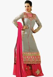 Admyrin Grey Embroidered Dress Material Online Shopping Store