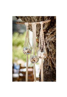 Macrame plant / bowl hanger with natural cotton rope on a