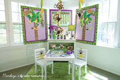 Schoolgirl Style and CTP show you how to make the most of your monkey theme!   www.schoolgirlstyle.com Monkey Bulletin Boards, Class Decoration, School Decorations, Classroom Supplies, Classroom Themes, Creative Teaching Press, Classroom Displays, Classroom Organization, Schoolgirl Style