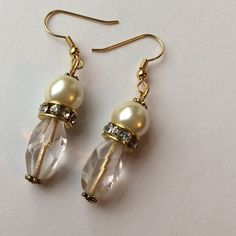 Fantastic Pearl & Gold Earrings - NEW LISTING These are great!! A Large Faux Pearl, a Glass Globe shaped Bead & an Over-Sized Jeweled Rondelle. Jewelry Earrings