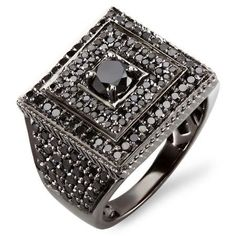 91610911220c 2.80 Carat (ctw) Black Rhodium Plated 10K White Gold Round Black Diamond  Mens Ring - Dazzling Rock