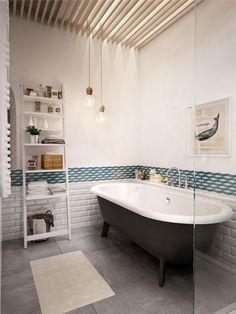 st-petersburg-apartment-bathroom-ladder - Home Decorating Trends - Homedit Home Interior, Bathroom Interior, Interior Design, Design Bathroom, Modern Bathroom, Interior Ideas, Bad Inspiration, Bathroom Inspiration, Open Plan Apartment