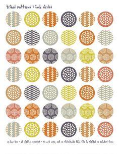 1 pollice cerchi e quadrati, disegni tribali collage di immagini di bottlecap cerchi acute, zig zag, foglio, download immediato - 609