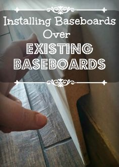 Baseboards over baseboards. over baseboards. always had a hate/hate relationship with the baseboards in our house. I wanted white and beautiful and thi… Tile Baseboard, Painting Baseboards, Baseboard Ideas, Removing Baseboards, Wainscoting, How To Install Baseboards, Do It Yourself Furniture, Do It Yourself Home, Home Improvement Projects