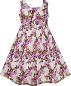 Girls Dress Blooming Flower Dalia Green Leaves Purple Size 4 #SunnyFashion #Party