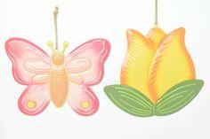 Spring Decor - Metal Butterfly, Flower