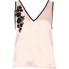 River Island Blush pink floral applique pajama top (36,515 KRW) ❤ liked on Polyvore featuring intimates, sleepwear, pajamas, lingerie & sleepwear, pajamas / loungewear, pink, women, satin pyjamas, pink satin pajamas and pink pjs
