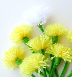 ❤ Tavaszi pompon virágok - pitypangok fonalból ❤Mindy -  kreatív ötletek és dekorációk minden napra
