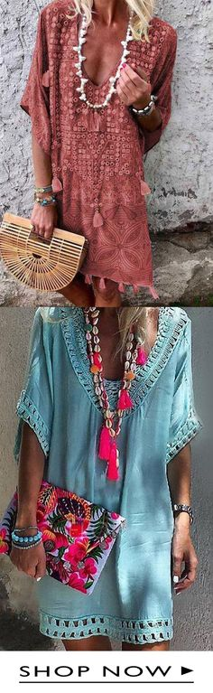Shop the latest fashion chic dresses online, we offer the hot trendy high-quality dresses, clothes and other fashion products for women. Chic Dress, Boho Dress, Chic Outfits, Fashion Outfits, Fashion Trends, Bohemian Girls, Vacation Dresses, Gypsy Style, Bohemian Style