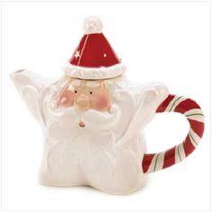 Candy Cane Santa Teapot