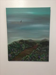 Here is a painting I completed today! It is acrylic on stretched canvas - the composition is reflecting a calm peaceful heath in England just at dusk in late fall.  In the background you can see a tiny rabbit briefly stopping on the dusty dirt track to look around - above him is a hawk with left wind dipped ready to turn from a hover towards the rabbit.  I call this piece 'Oblivious'.  I hope the rabbit manages to get home. This item is for sale in my store VandaWare on etsy.com