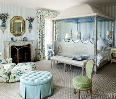 This beautiful bedroom by Mario Buatta is truly a feast for the eyes!