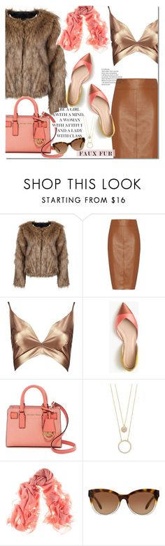 """""""Faux Fur Coats"""" by huda-alalawi ❤ liked on Polyvore featuring Bailey 44, Boohoo, J.Crew, MICHAEL Michael Kors, Kate Spade, Black, Michael Kors, polyvoreeditorial, polyvorecontest and fauxfurcoats"""
