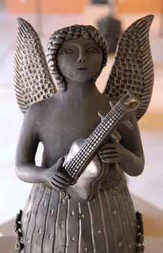 Angel with Guitar Oaxaca | Black pottery angel from San Bartolo Coyotepec Oaxaca Mexico