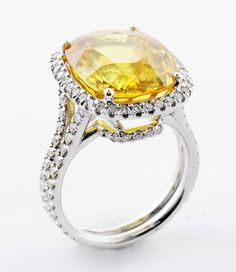 18K White Gold 13.83ct Cushion Citrine Ring with Diamond Halo..... Thinking of adding the halo to mine? Or sapphires?