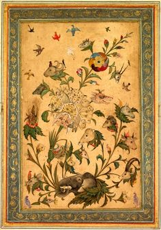 A Floral Fantasy of Animals and Birds (Waq-waq), early 1600s.  Northern India, Mughal , early 17th century.