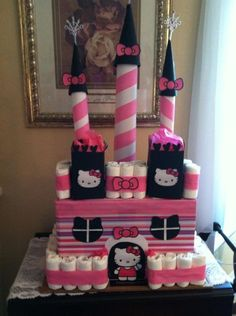 Hello kitty diaper castle | DIY Baby Shower Gift Basket Ideas for Girls