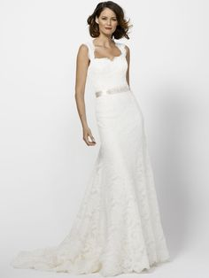 Ivory Lace Unusual Wedding Dress with Fit and Flare Skirt