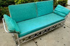 Vintage Aqua Vinyl Aluminum Patio Glider Sofa This what I am looking for my grandparents had one and everyone loved it Glider Cushions, Porch Glider, Outdoor Glider, Outdoor Chairs, Glider Redo, Lawn Chairs, Outdoor Rooms, Outdoor Fun, Vintage Outdoor Furniture