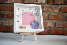 Baby Frame / Baby Girl Frame / Baby Gift / Birth gift / New Baby Frame / New Baby Gift Baby Frame, Birth Gift, Baby Boy Gifts, New Baby Products, Frames, Clock, Handmade Gifts, Etsy, Vintage
