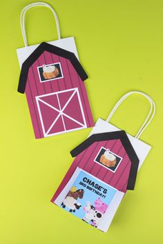 DIY Barn Favor Bags. Simply Download, Print, Cut, and Paste. #kidsparty #birthdayideas #barn #farm Favor Bags, Goodie Bags, Gift Bags, Lolly Bags, Craft Stores, Card Stock, Birthday Ideas, Favors, Barn