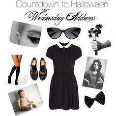 """""""Countdown to Halloween: Wednesday Addams"""" by zerouv on Polyvore: TRENDY RETRO CAT EYE CHIC 1950'S FASHION SUNGLASSES 8447"""