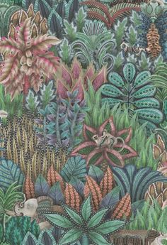 Singita is a rich, patterned, forest design, featuring the foliage and plant motifs which decorate Ardmore's hand-painted dishes and bowls. Wild animals can also be seen strolling through the thick undergrowth on this luxurious tapestry-like paper. Dark Blue Wallpaper, Cole And Son Wallpaper, Blue Wallpapers, Colorful Wallpaper, Wallpaper Roll, Hand Painted Dishes, Rockett St George, Boutique Deco, Forest Design