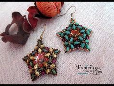 Blooming Star earrings with bicones and superduos - Beading Tutorial - YouTube
