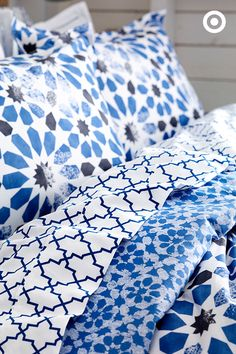 Oh, the beauty of blue. Sabrina Soto's new bedding collection uses a mix of patterns, but ties them together by using one common hue.
