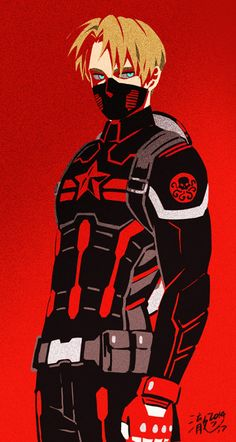 Steve Rogers as the Winter Soldier... kinda looks like Aph America?