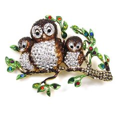Butler and Wilson Owls on a Branch Brooch