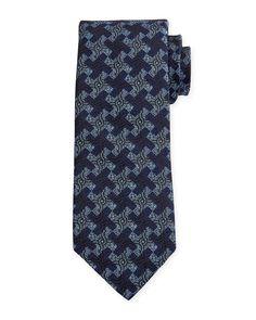 Geometric-Print Silk Estate Tie, Navy - Robert Talbott