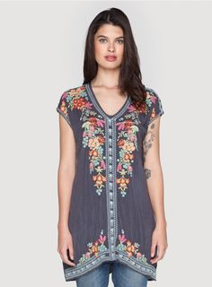 Heidi Tunic The Johnny Was HEIDI TUNIC features a stunning vintage-inspired needlepoint embroidery design that combines Folk Art florals and decorative border elements. Layer this boho embroidered tunic over a silk slip to wear it as a mini dress, or style it with skinny jeans or leggings.  - Rayon Georgette - Scoop Neckline, Cap Sleeves, Tunic Length - Signature Embroidery - Care Instructions: Machine Wash Cold, Hang Dry