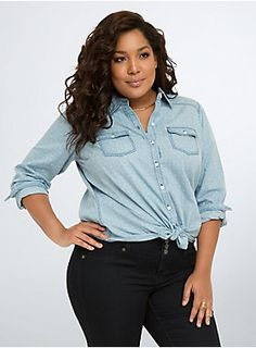 """<p>Faded blues that tell quite a folk story, this ultra-distressed denim shirt is ready for a road trip. Lighter than light true blue covers the button down denim style. Printed with a white star pattern allover, this shirt has some Western touches (collar, snap breast pockets, back yoke).</p><ul><li>Size 1 measures 30 1/4"""" from shoulder</li><li>Cotton</li><li>Wash cold, dry low</li><li>Imported plus size shirt</li></ul>"""