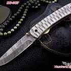 Hunters grace damascus custom handmade hunting folding linerlock knife