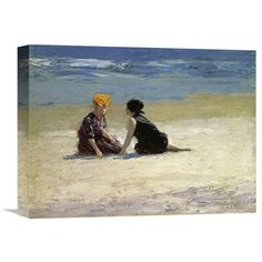 Global Gallery 'Confidences' by Edward Henry Potthast Painting Print on Wrapped Canvas Size: