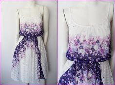 Vtg70s White PurpleLilac Floral Striped Print Full by autumnschild, $45.00