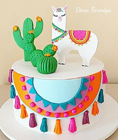 - - backen - first birthday cake-Erster Geburtstagskuchen First Birthday Cakes, Birthday Cake Girls, 2nd Birthday Parties, Deco Cactus, Cactus Cake, Mexican Birthday, Mexican Party, Mexican Fiesta Cake, Pretty Cakes